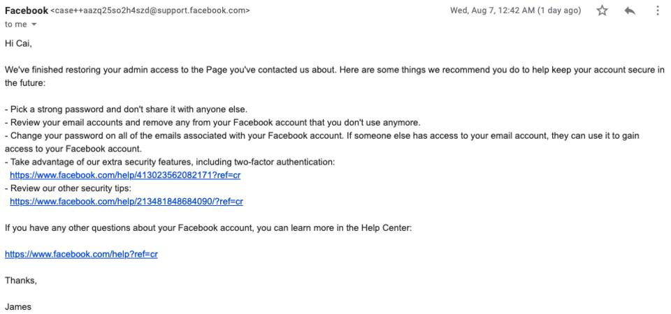 Facebook page hack